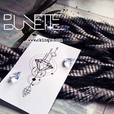 Diamond geometric linework arrow tattoo idea inspiration bunette