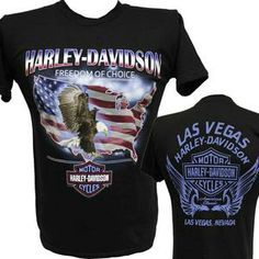 HARLEY-DAVIDSON Las Vegas Dealer PATRIOTIC FLAG FREEDOM OF CHOICE T-Shirt S Bva1