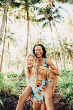 Best friends and the BEST swimsuits! Check out our NEW Citrus Swim Collection for one piece swimsuits, crop tops, tankini tops, hipster & high waisted swim bottoms and much more! {as pictured: The Clementine One Piece + Clementine Crop Top} | albionfit.com