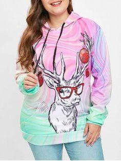 ab2940b328bb2 Plus Size Christmas Elk Print Drawstring Hoodie