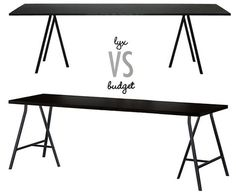 yx vs budget ikea hay loop stand table Ikea Table, Dining Table In Kitchen, Lerberg Ikea, Interior Design Living Room, Diy Room Decor, Furniture Decor, Sweet Home, Long Desk, Desktop