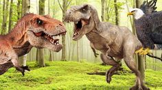 3D Dinosaur Videos for Children  Dinosaurs Evil T-Rex Eagle Horse Elepha...
