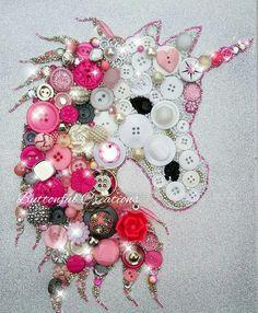 Pink Fantasy Unicorn Button Art. Unicorn Button Art Decor by Buttonful Creations