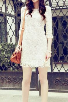 Beige Round Neck Long Sleeve Lace One-piece Dress