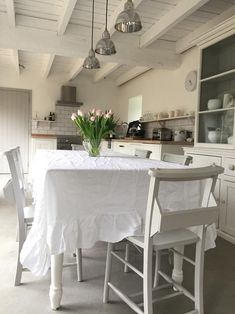 Ruffled linen large rectangle tablecloth - natural, white or dove grey