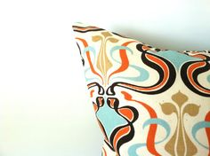 Fall Damask Pillow Covers - Set of Two, 20 x 20, Pumpkin Robin Egg Blue Pillows, Elegant Pillows, Fall Decor, Autumn Pillows, Orange Pillows on Etsy, $38.00