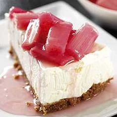 cheesecake with rhubarb compote (no rhubarb for me, but that cheesecake looks fantastic)