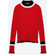 SPORT SWEATER - Turtlenecks-KNITWEAR-WOMAN | ZARA United States (€46) ❤ liked on Polyvore featuring tops, sweaters, zara, red turtleneck sweater, turtleneck top, turtle neck top, sports sweaters and sport top