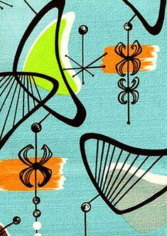 Barkcloth, mid century art, retro, atomic, boomerang, starburst, by RikkiVanCamp