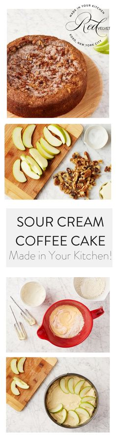 Sour Cream Coffee Cake. This super-moist cake was originally intended for afternoon coffee breaks, but it works at any hour. We make it sophisticated with apples, chocolate, and a spiced streusel topping.