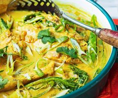 Tumeric and coconut poached barramundi, fish recipe, brought to you by Real Living Fish Dishes, Seafood Dishes, Fish And Seafood, Seafood Recipes, Prawn Recipes, Seafood Salad, Salmon Dishes, Thai Dishes, Whole Food Recipes