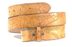 Western Cattle Drive Hand Tooled Leather Belt by OutrageousLeather
