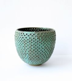 pierced copper green contemporary vessel by Robert Boyer   #ceramics  #contemporary