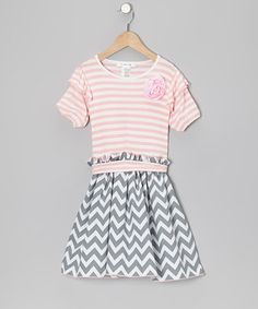 Take a look at this Gray Zigzag & Pink Stripe Dress - Toddler & Girls by Wonder Me on #zulily today!