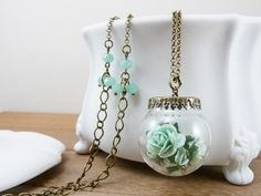 Mint green necklace, Pale green flower, Paper roses, Crystal jewelry, Crystal ball by TriccotraShop on Etsy