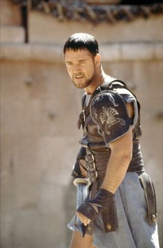 "Russell Crowe garbed as a gladiator in ""Gladiator"", movie, 2000."