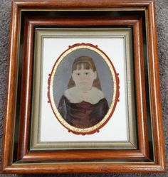Vtg Victorian Large Tintype Photo-Hand Painted Portrait of Adorable Girl