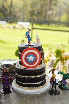 Captain America shield on a naked wedding cake