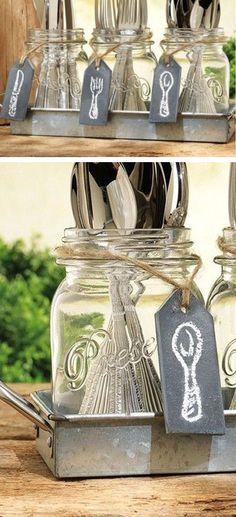 Mason jar cutlery caddy - DIY idea #product_design