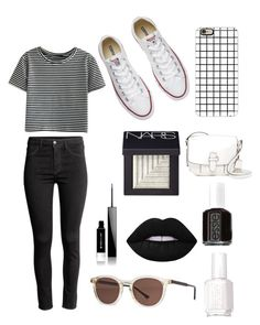"""""""Black and White⚽️"""" by brooklyn-adair-styles on Polyvore featuring H&M, WithChic, Converse, Lime Crime, Essie, Givenchy, NARS Cosmetics, Casetify, Thierry Lasry and MICHAEL Michael Kors"""