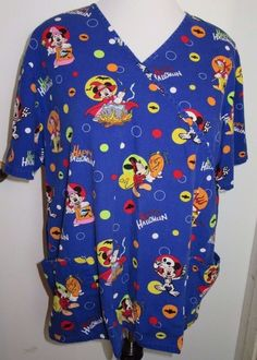 8e158f190b8 Disney 100% Cotton Scrub Tops | eBay. Halloween Trick Or TreatScrub ...