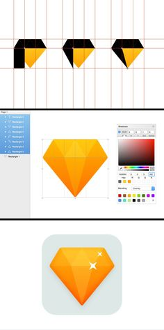 How to Create a Flat Diamond Icon with Sketch App Game Ui Design, App Design, Sketch Icon, Diamond Icon, Game Gem, Game Icon, Layer Style, Art Challenge, Learning Resources