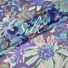 Daisy Print Silk Chiffon Fabric by fabricAsians