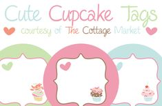 Free Printable, Adorable Cupcake tags or Labels...so cute, love the colors!