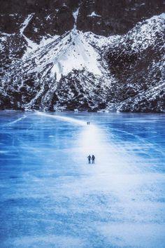 Morskie Oko, frozen Tatra Lake , Poland
