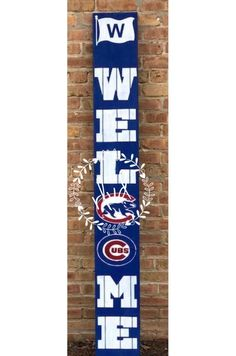 Chicago Cubs Blue Welcome Sign - Porch signs - Animals Chicago Cubs Gifts, Chicago Cubs Fans, Chicago Cubs Baseball, Baseball Signs, Baseball Crafts, Sports Signs, Outdoor Welcome Sign, Outdoor Signs, Outdoor Decor