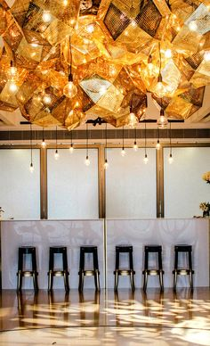 Black and gold with edison bulbs