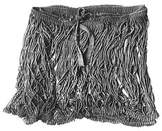 """The Danish Bronze Age string skirts were created by producing a woven band in which the weft threads are allowed to extend past the edge of the warp on one edge, forming long loops of thread which make up the skirt. A thread is """"chained"""" around the individual loops near the bottom to keep the strings from tangling uselessly into knots. The woven band becomes the waistband of the skirt, which is simply wrapped around the waist and the ends tied."""