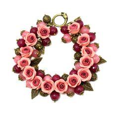 Floral Bracelet Wine Burgundy Pink Feminine Jewelry by KittenUmka