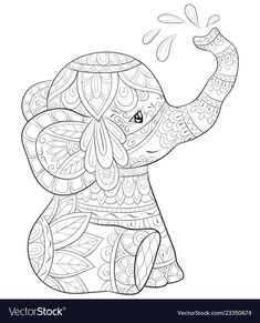 Stock Vector - A cute cartoon elephant with ornaments image for relaxing activity.A coloring book,page for adults.Zen art style illustration for print. Elephant Coloring Page, Dog Coloring Page, Animal Coloring Pages, Coloring Book Pages, Printable Coloring Pages, Coloring Pages For Adults, Colouring, Elephant Images, Cartoon Elephant