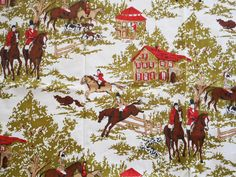 Vintage Equestrian Cotton Fabric Riding To by allsfairyvintage