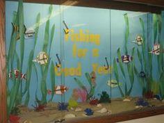 Ocean and Reading Themed Back To School Bulletin Board Idea