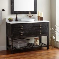 """48"""" Benoist Reclaimed Wood Console Vanity for Semi-Recessed Sink - Antique Pine"""