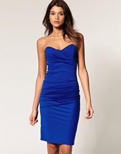 TFNC Bandeau Midi Dress in Pleated Jersey - StyleSays