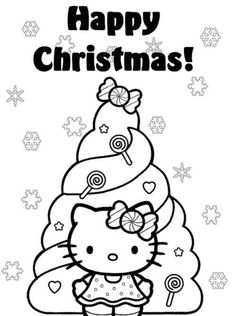 Happy Christmas Hello Kitty Coloring Pages Tree