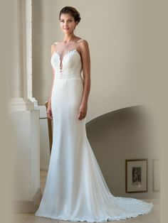 """Look simply elegant in the """"Bess"""" wedding dress with the straight fitted style and lace displayed in exactly the right place with beautiful keyhole back design and train with a difference. Beautiful Waterfalls, Bridesmaid Dresses, Wedding Dresses, Friend Wedding, Plunging Neckline, Different, Fitness Fashion, Most Beautiful, Train"""