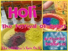 Activites and Resources for learning about Holi-The Festival of Colors... including making your own Holi T-Shirt and Color Book