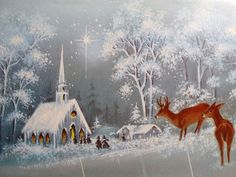 The Woods w Deer Vintage Christmas