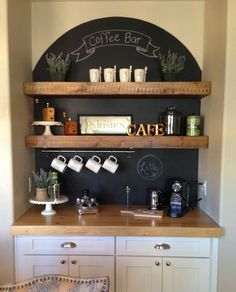 Coffee Nook. LOVE how they have a half moon chalkboard as a back drop with shelves in front of it!