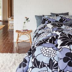 To celebrate our 200th anniversary we made a collection that takes a stand. The designs are based on the large patterns and strong colours of the 1970s. The Annukka pattern was designed by Mirja Tissari in 1976. // 200-vuotisjuhlamme kunniaksi toimme mallistoomme kuosisarjan, jonka ydin on 70-luvun suurissa kuvioissa ja vahvoissa väreissä. Annukka-kuosi on Mirja Tissarin käsialaa vuodelta 1976. Duvet Cover Sets, 1970s, Comforters, Anniversary, Strong, Colours, Blanket, Patterns, Bed