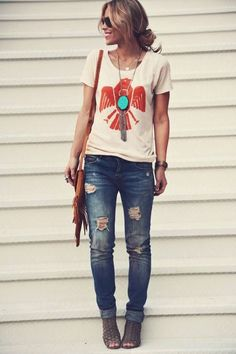 Don't love the jeans.  Super cute top and bag!   Phoenix tee, jeans, turquoise necklace, fringe bag
