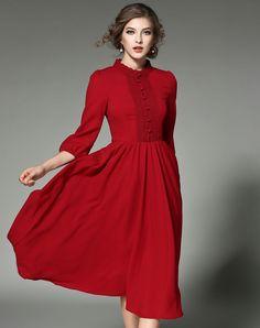 #AdoreWe FWAYSBY Red Lace Paneled Chiffon Swing High Waist Midi Dress - AdoreWe.com