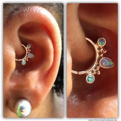 "thrivestudios: ""Pierced By @thrivinjesse ""Camille drove two hours to visit @thrivestudios to upgrade her healed daith piercing! She instantly fell in love with this 14k rose gold ""Eden Pear"" ring with white opals from @bvla fits her ear perfectly...."