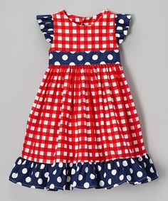 Red & Navy Polka Dot Twirly Dress - Toddler & Girls by Haley and the Hound #zulily #zulilyfinds