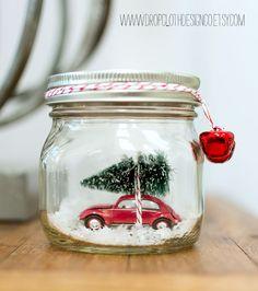 Mason Jar Christmas Craft: Car In Mason Jar Snow Globe