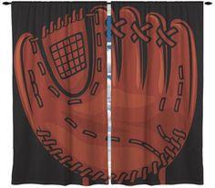 Baseball Glove Theme Window Curtain